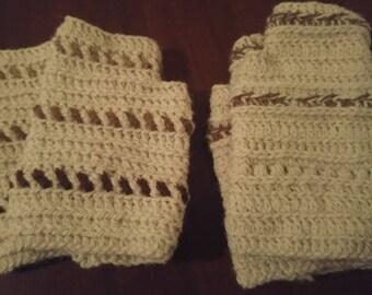 Fingerless gloves in Alpaca - crochet washcloth - glove - handmade - natural color