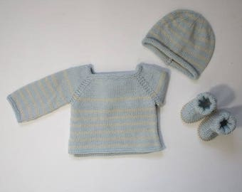 """My first sailor"" top light blue with beige stripes and his hat in Merino 0/1 month"