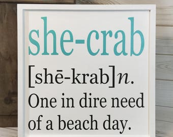 Beach sign crab sign coastal decor crab decor gift for her beach house decor wood beach sign beach gift beach quote