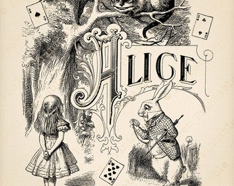 ALICE in WONDERLAND Printable Instant Download Clipart - Cheshire Cat White Rabbit graphics - Lewis Carroll - Digital Image Fabric Transfer