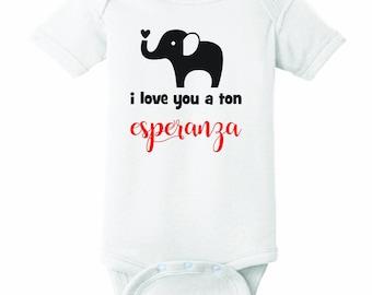 Elephant I love you Onesie Personalized