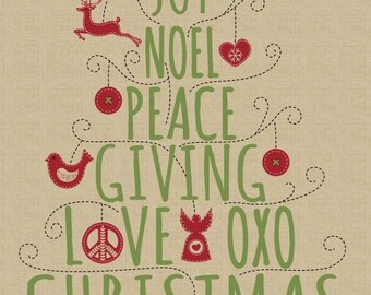 """A Nordic Christmas 41314P-X 24"""" Cotton Fabric Panel! Noel, Peace, Giving, Love, XOXO [Sold by the Panel]"""