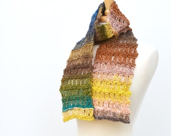 Knitted Lace Scarf, Noro Multicolor Striped Neck Warmer, Yellow Green Brown