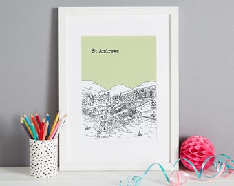 Personalised St Andrews Print | St Andrews Gift | First Anniversary Gift | Engagement Gift | Unique Wedding Gift | Valentines Day Gift