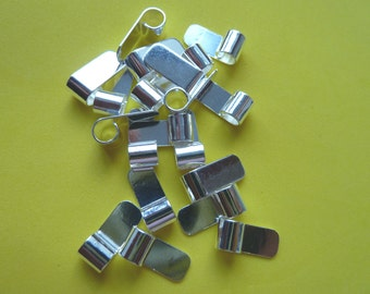 20 Medium S/P Tube Top Bail findings ideal for Pendants Silver Plated Flat pad Glue on