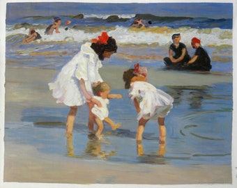 Children Playing at the Seashore - Edward Potthast hand-painted oil painting reproduction,Little Girls on the Beach,kids room wall art decor