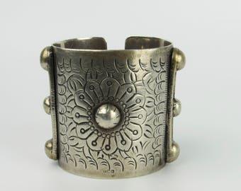 Vintage Heavy Silver Bedouin Bracelet - Siwa Cuff