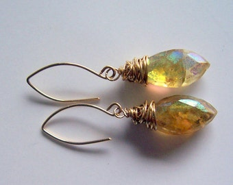 Citrine and gold wire wrapped dangle earrings, citrine jewelry, citrine earrings, November birthstone