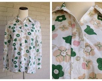 Vintage 1960's White Cream Green Floral Women's Blouse size Medium M