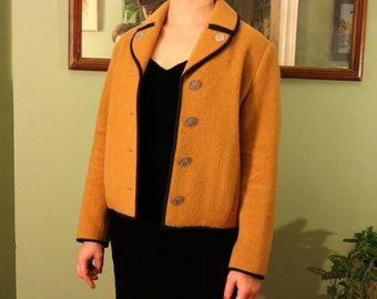 1950's Vintage Mustard Yellow Wool & Mohair Jacket