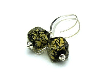 Black Gold Murano Glass Minimalist Dangle Drop Earrings   For Her Under 75 free  gift wrap