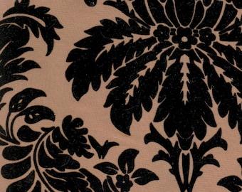 Black Embossed Taffeta Fabric - 1 Yard