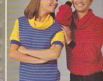 ON SALE 1980's Sewing Pattern - Knitwit 1000 Cowl Neck Dress, Top and Tabard Size 6 - 22 Factory folded and complete