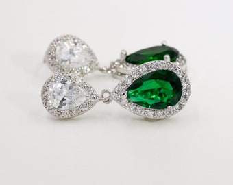 Emerald crystal earrings and pendant, British royal wedding jewellery, cubic, bride pendant, silver, rose gold chain, bridesmaids gift,