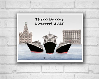 Three Queens Liverpool 2015-Limited Edition-Cunard-Liverpool gift-Liverpool print