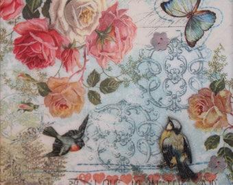 4 Paper Napkins,Paper Napkins for decoupage,Paper Napkins with birds & Roses,Vintage paper napkin,Decor Collection, Provence,Art decor.Nr6