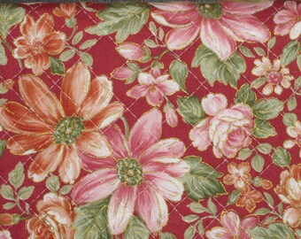 Pre Quilted Fabric Half Meter Cut Floral Design