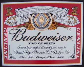 Budweiser Label Tin Sign King of Beers Bar Home Wall Decor Metal Man Cave
