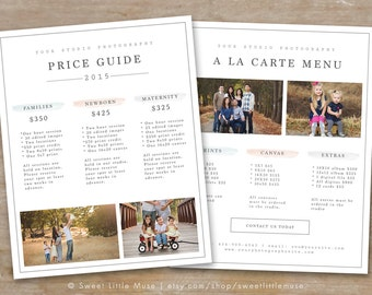 Photography Price List Template - Photography Pricing Guide - Photography Sell Sheet - Photoshop Template
