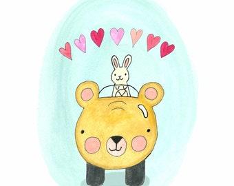 Bear and Bun Card // Blank // Valentine