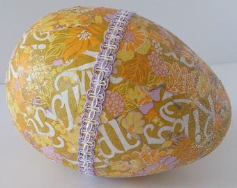 Large Easter Egg Decorated in Vintage Wrapping Paper Yellow and Lavendar