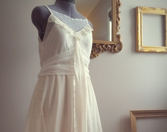 Vintage inspired 1930's style silk and vintage lace wedding dress, ivory boho wedding dress