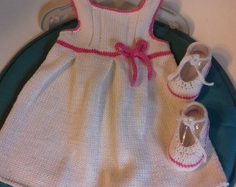 dress and white crochet Bootie set