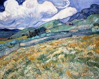 Vincent van Gogh 1889, Landscape from Saint Rémy, HD Canvas Print or Art Print, Artwork Wall Poster Impressionism Print on Canvas Van Gogh