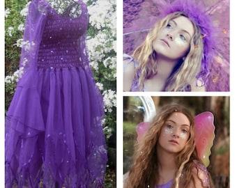 Elite Ebony Fairy  Womens Costume ~  Halloween  ~ Wings ~ Tulle Garland ~ Bachelorette party ~ Theatre ~ Fairytale Wedding