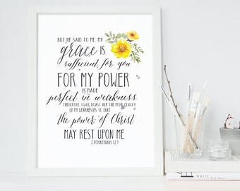 2 Corinthians 12:9 - Scripture Print Digital File - Instant Download - Bible Verse Art - Christian Typography - Floral Printable