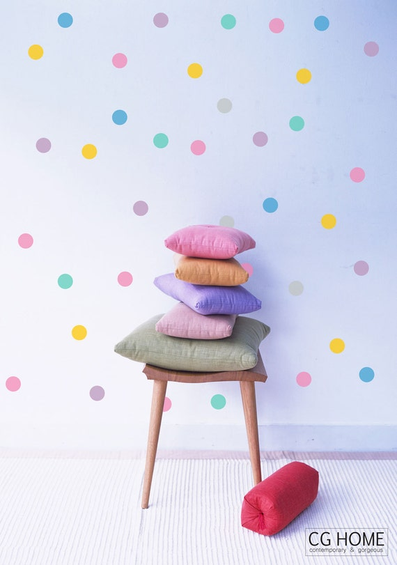 """4"""" Rainbow Polka Dots Wall Decals CONFETTI Wall Stickers Baby Room Decals 10 colors Pack for Kids Toddlers Nursery Room decoration"""