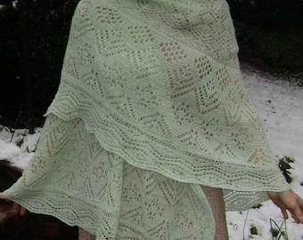 Snowy Mint Lace Shawl Hand-knit