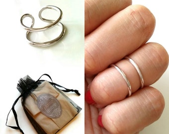 -Double ring - knuckle ring Sterling 925 Silver - knuckle rings, 925 sterling silver, adjustable size
