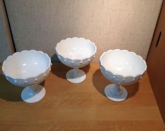 Vintage White Milk Glass Open Compote Glassware