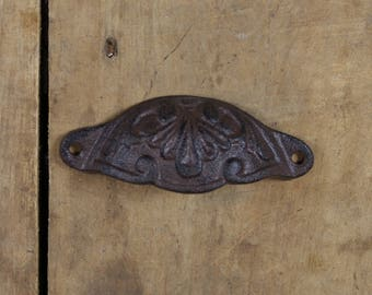 Ornate Cast Iron Cup Handle Drawer Pull