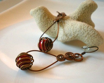 Copper Tear Drop Hoops Earrings with Caged Red Coral Beads and Hand Crafted Ear Wires
