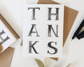 Thanks cards, set of 10- thank you greeting card- simple- minimalist- for him- for her- thankful- grateful- teacher appreciation- unique