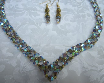 Swarovski Crystal Satin AB V shaped necklace, earrings sparkle with radiant beauty