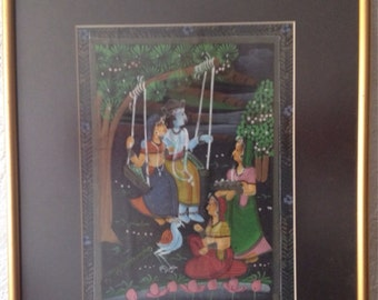 Mughal Silk Painting From Rajasthan Framed