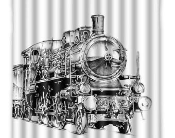 Steam Train Shower Curtain - Vintage Steam Train - Shower Curtain - Train Illustration - bath Home Decor