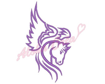 Machine Embroidery Designs winged horse head (4 size) - Instant Digital Download
