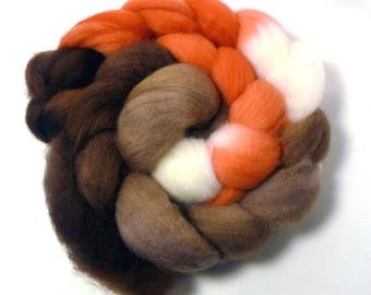 Handdyed Falkland Wool Roving - Phoebe - brown, tan, coral, white
