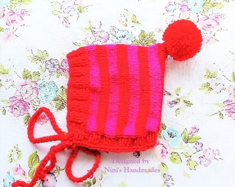 Knit Red and Fuchsia Pink Pixie Bonnet Pom Pom Hat For Fall and Winter Chunky available, Baby Bonnets, baby shower gift, Bonnet Kids apparel