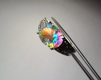 CLEARANCE  Stunning Opalescent Genuine Quartz in Sterling Silver Ring