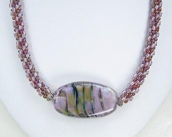 Handmade Beaded Kumihimo Necklace with Lampwork Tab.   Purple