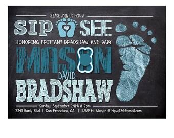Baby Boy Sip and See Invitation, Sip and See Invitation, Baby Shower Invitation, Sip N See Baby Shower, Baby Boy Shower Invitation