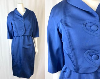 Medium/large ** 1960s BLUE SAPPHIRE silk faille Frederick & Nelson dress and jacket ** vintage sixties blue dress suit