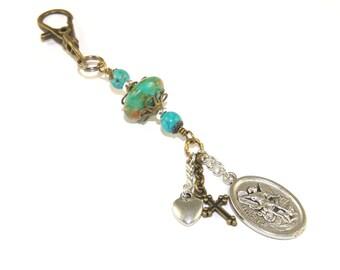 Saint Michael & Schutzengel Medaille Clip - Schlüsselbund, Tasche baumeln, Auto Zubehör