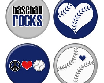 Baseball Rocks Magnets or Pinback Buttons or Flatback Medallions Set of 4