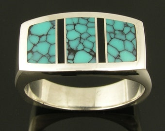 Spiderweb Turquoise Ring with Black Onyx in Sterling Silver by Hileman Silver Jewelry